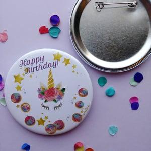 Unicorn Concha Happy Birthday Button
