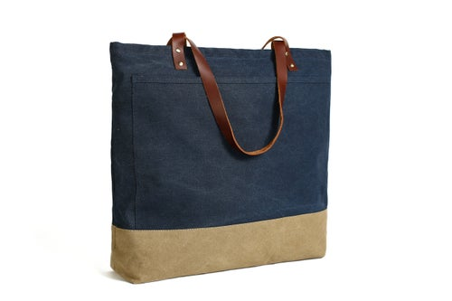 Image of Handmade Canvas Tote Bags with Leather Trimming, Shopper Bags, Women Designer Handbags 14047