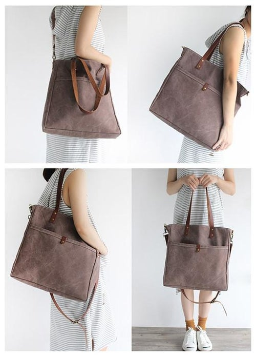 Image of Handmade Canvas Tote Bag Messenger Bag School Bag Handbag Shoulder Bag 16000
