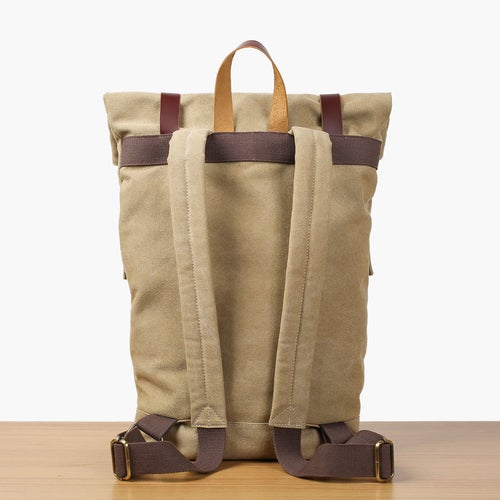 Image of Handmade Canvas Leather Backpack School Backpack Rucksack Travel Backpack 16001