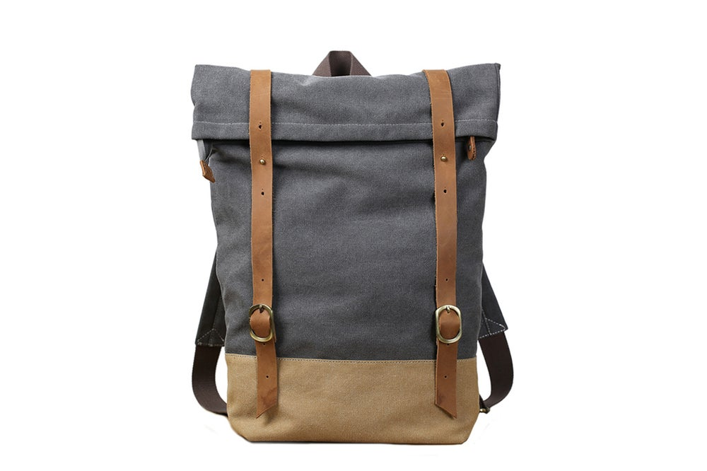 Image of Handmade Canvas Leather Backpack School Backpack Travel Rucksack Backpack 14129