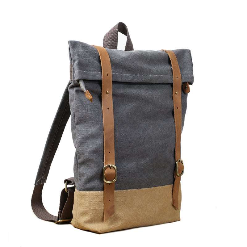 Handmade Canvas Leather Backpack School Backpack