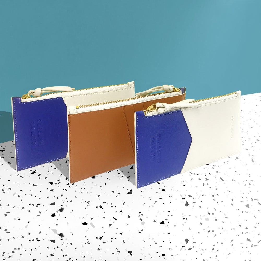 Mini Zipped Pouch - Blue/ Biege