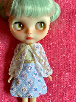 Image of LoungingLinda Luxe Fabergé Dress & Cape ~ Baby Blue