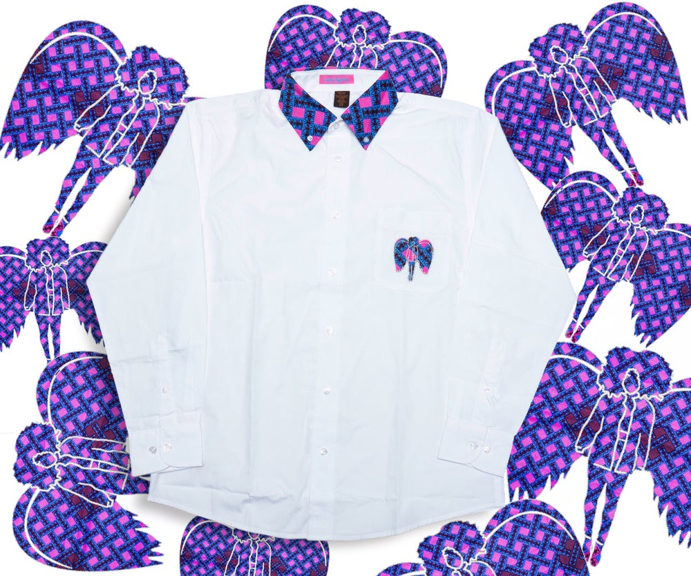 Image of CustomTaylorred Kente Button Down in White