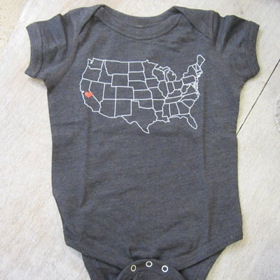 Image of California Love Heathered Grey Cotton Onesie