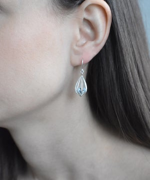 "Image of Medium ""Momento"" Teardrop Earrings with Sky Blue Topaz"