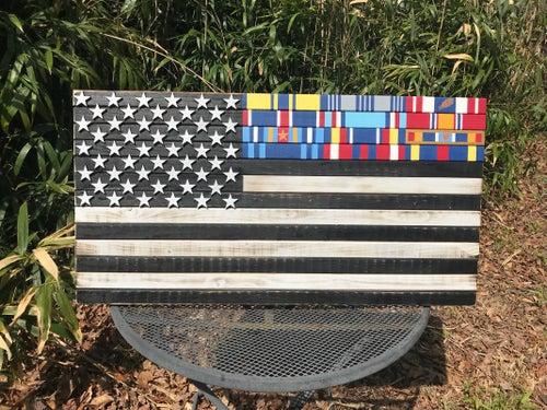 Image of Large or Medium American Flag with Military Ribbons