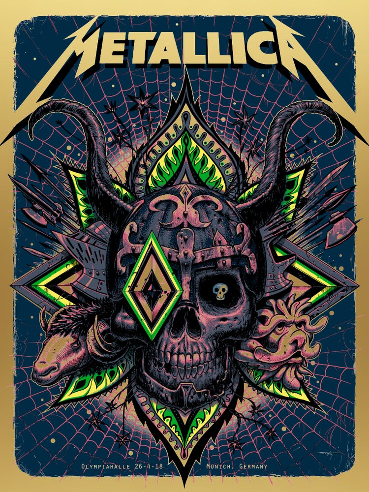 Image of Metallica Munich Gold Foil Edition Poster