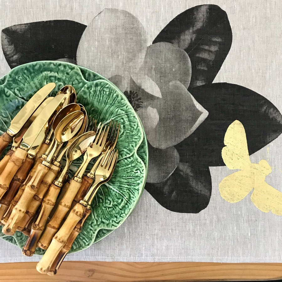 Image of Bamboo Cutlery Set with Gold