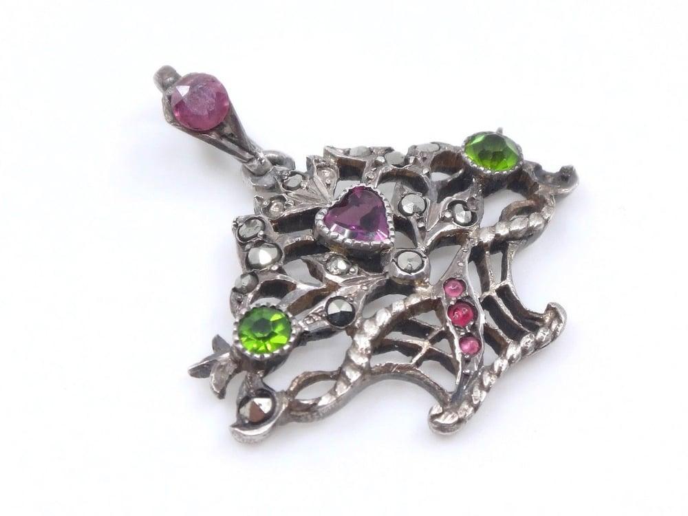 Image of Pendentif panier fleuri en argent massif marcassites et pierres Art Nouveau