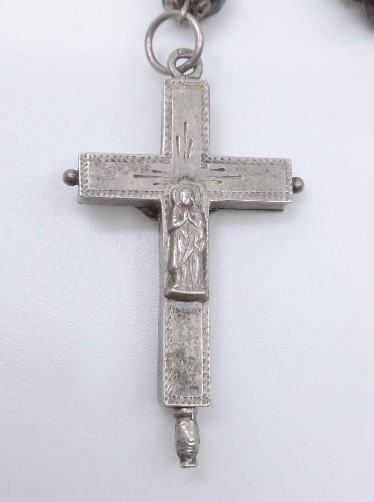 Image of Chapelet argent massif et grenats véritables croix reliquaire XIXeme