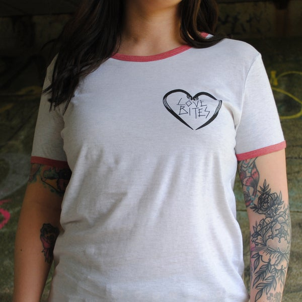 Image of Love Bites snake heart ladies ringer t-shirt