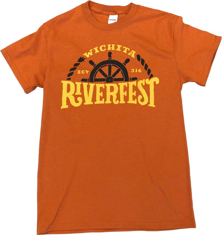 Image of 2018 Riverfest Windwagon Wheel Art T-Shirt