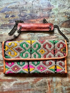 Image of Moroccan leather kilim bag #1