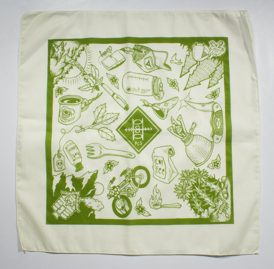 Image of XL Bandana-Natural w/ Olive Ink
