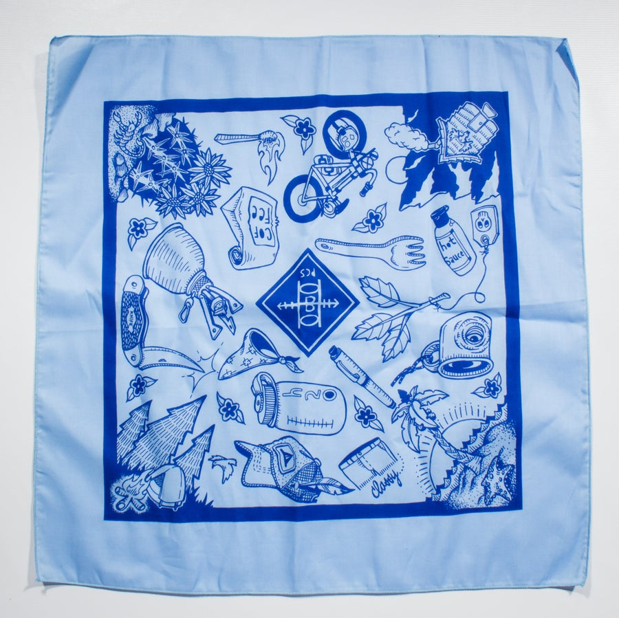 Image of XL Bandana- Light Blue w/ Navy Ink