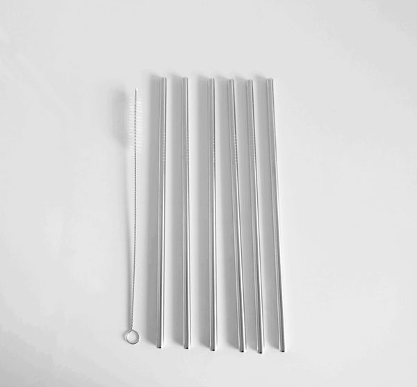 Image of Stainless steel straw - straight silver 2, 4 or 6 pack