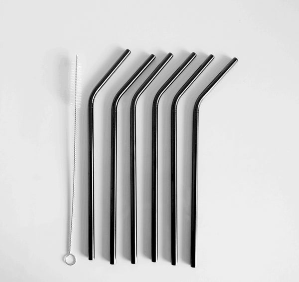 Image of Stainless steel straw - black 2, 4 or 6 pack