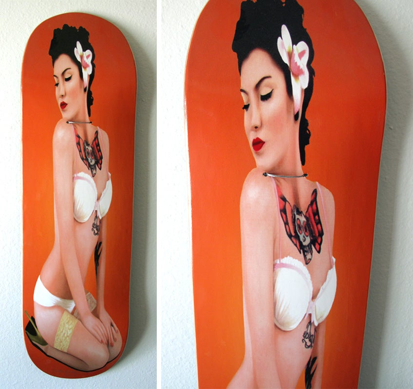 Image of Lala #2 (2012) skateboard - Orange Background