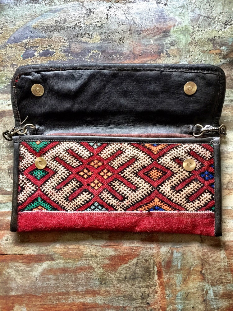 Image of Moroccan leather kilim bag #2