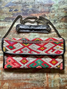 Image of Moroccan leather kilim bag #3