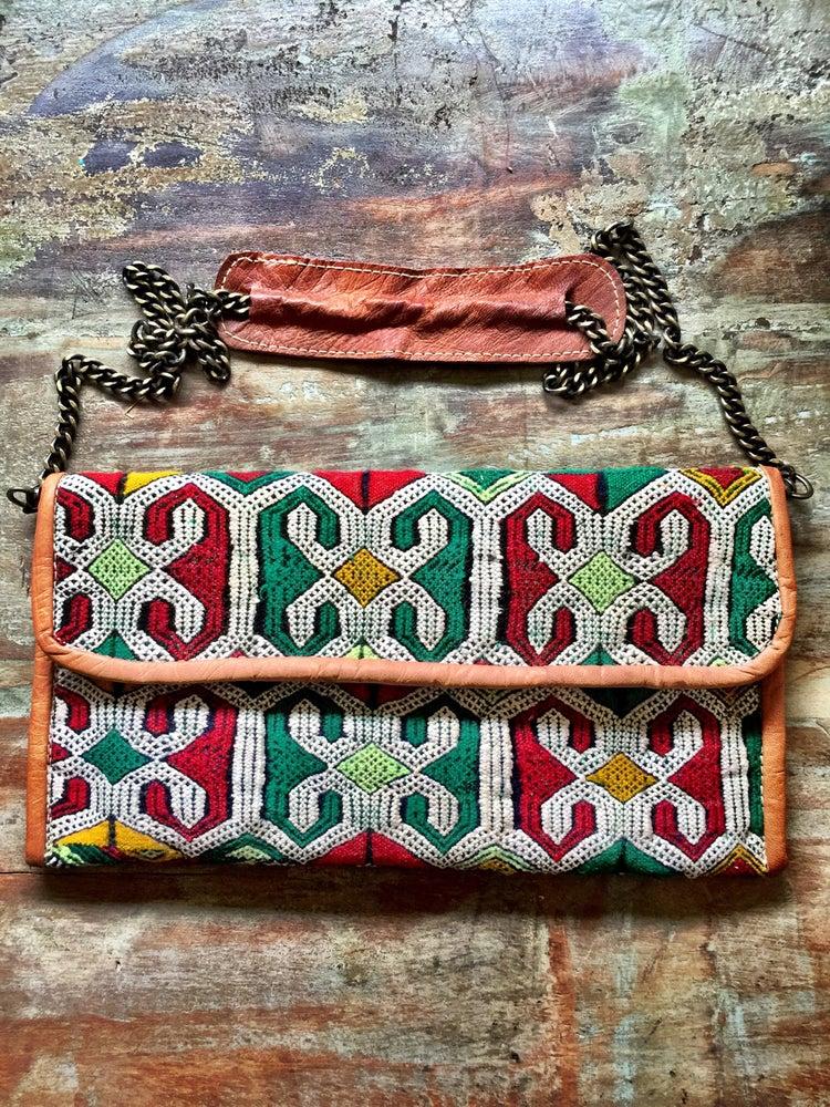 Image of Moroccan leather kilim bag #4