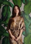 eco print camo kimono wrap dress