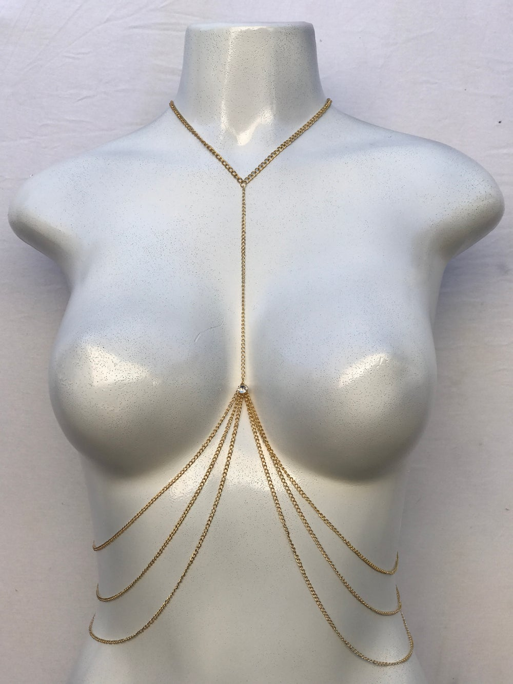Image of GOLD BODY CHAIN W/CRYSTAL