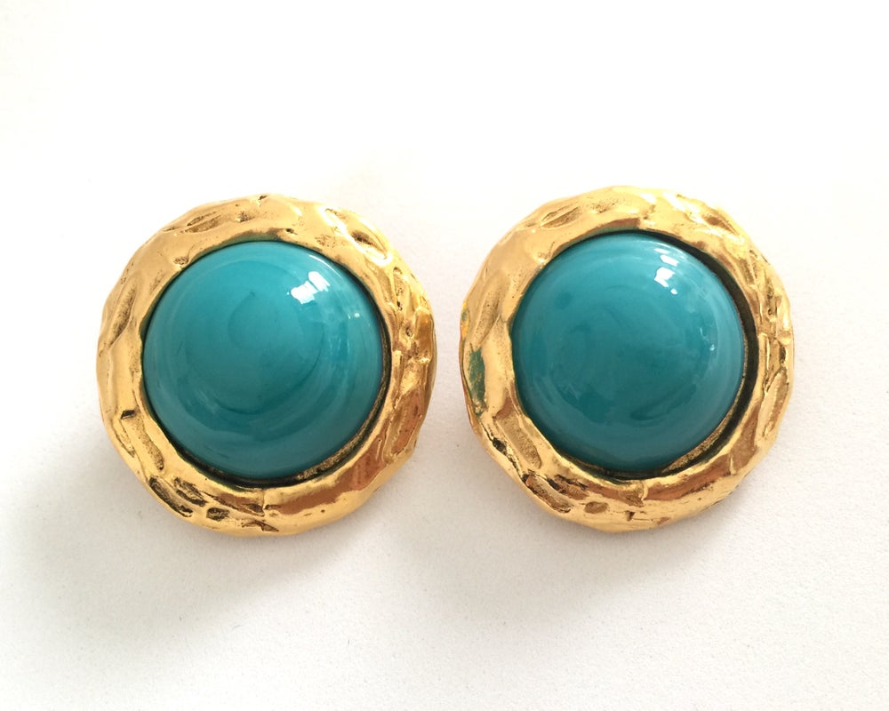 Image of Authentic Vintage 80s CHANEL Gold Tone Faux Turquoise Stone Clip On Earrings