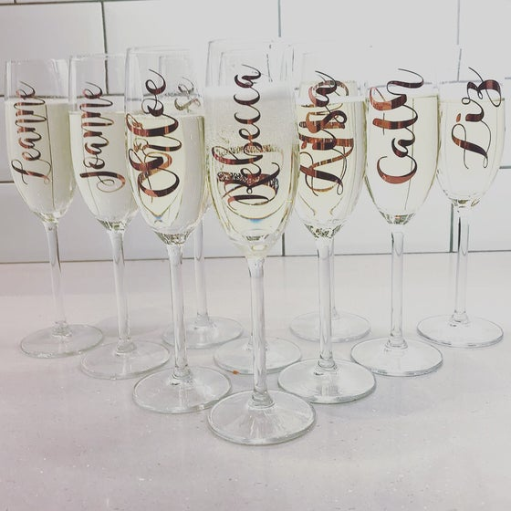 Image of Champagne Flute, wine & gin glass Vinyl Names