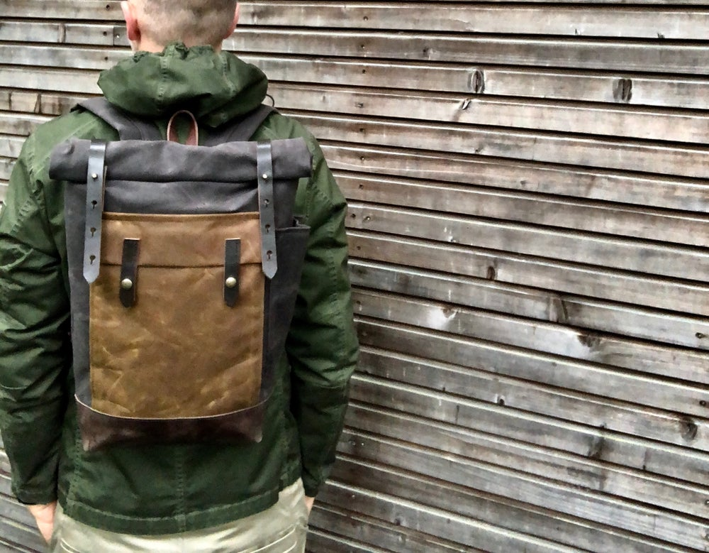 Image of Waxed canvas leather Backpack medium size / Hipster Backpack with roll up top and leather bottom