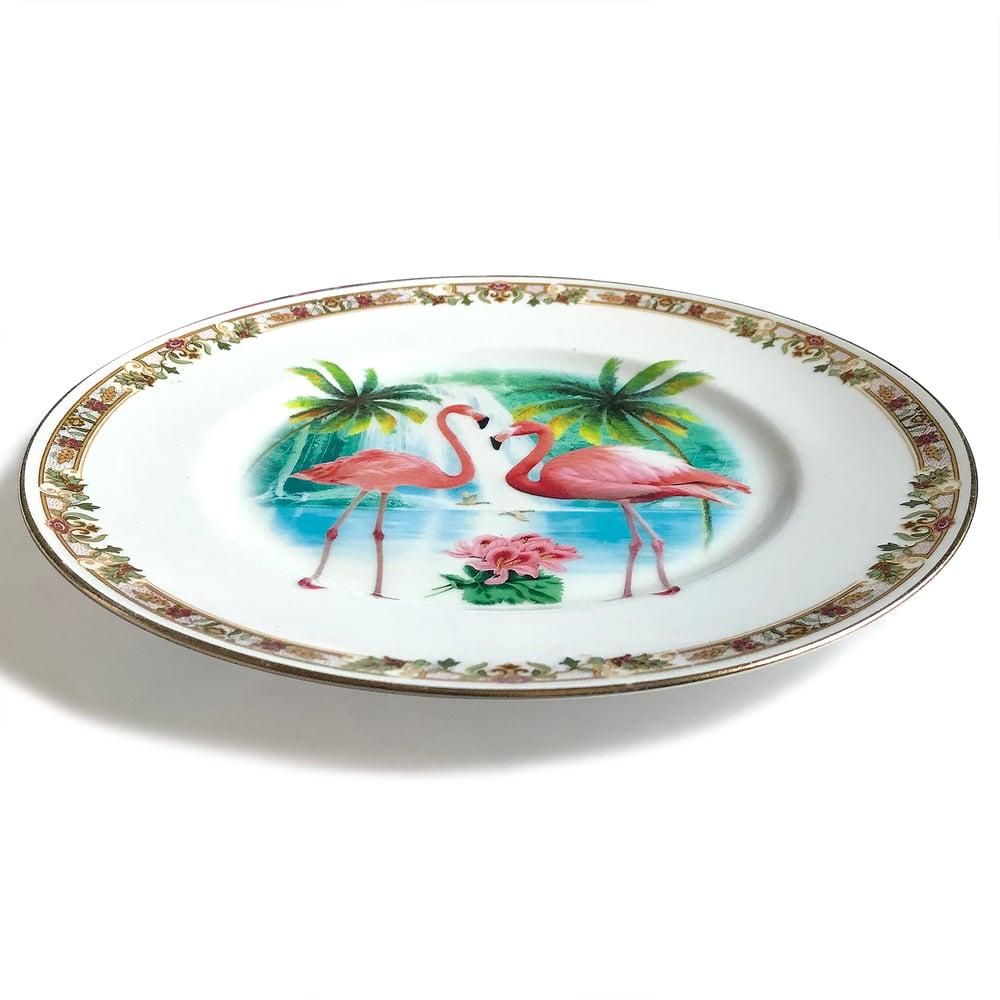 Image of Flamingos - Vintage Porcelain Plate - #0593