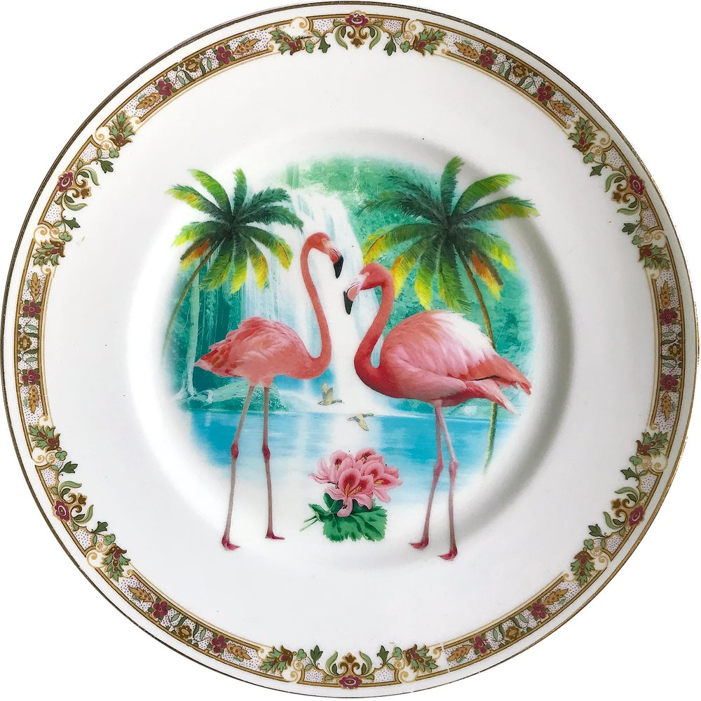 Image of Flamingos - Vintage Porcelain Plate - #0593