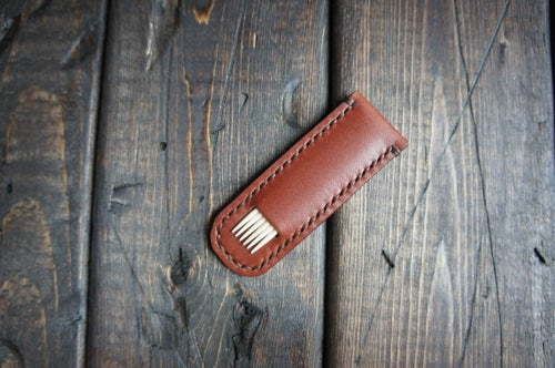 Image of Leather toothpick holder/case