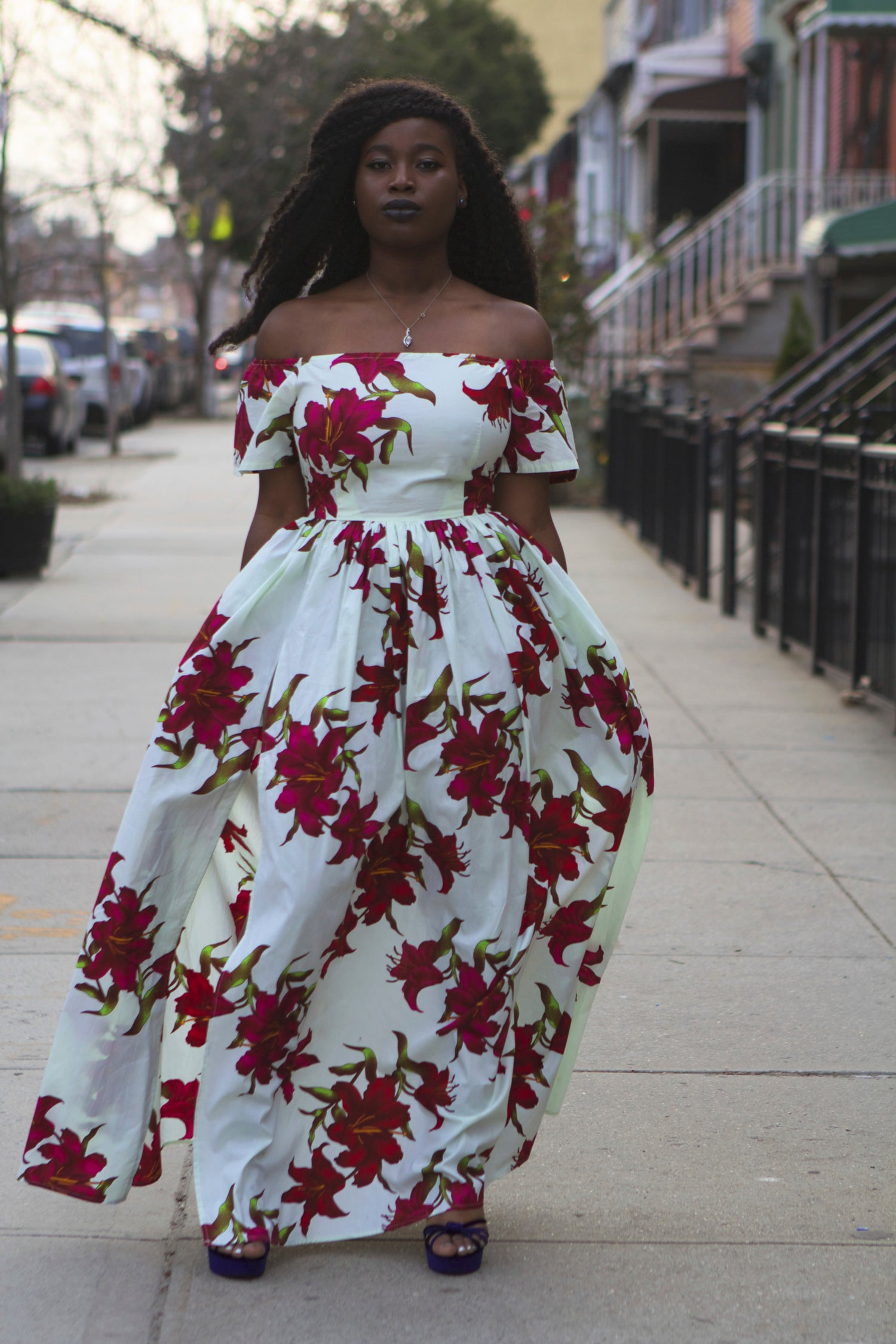 Image of TERRY - Off the Shoulder Floral African Fabric Maxi Dress