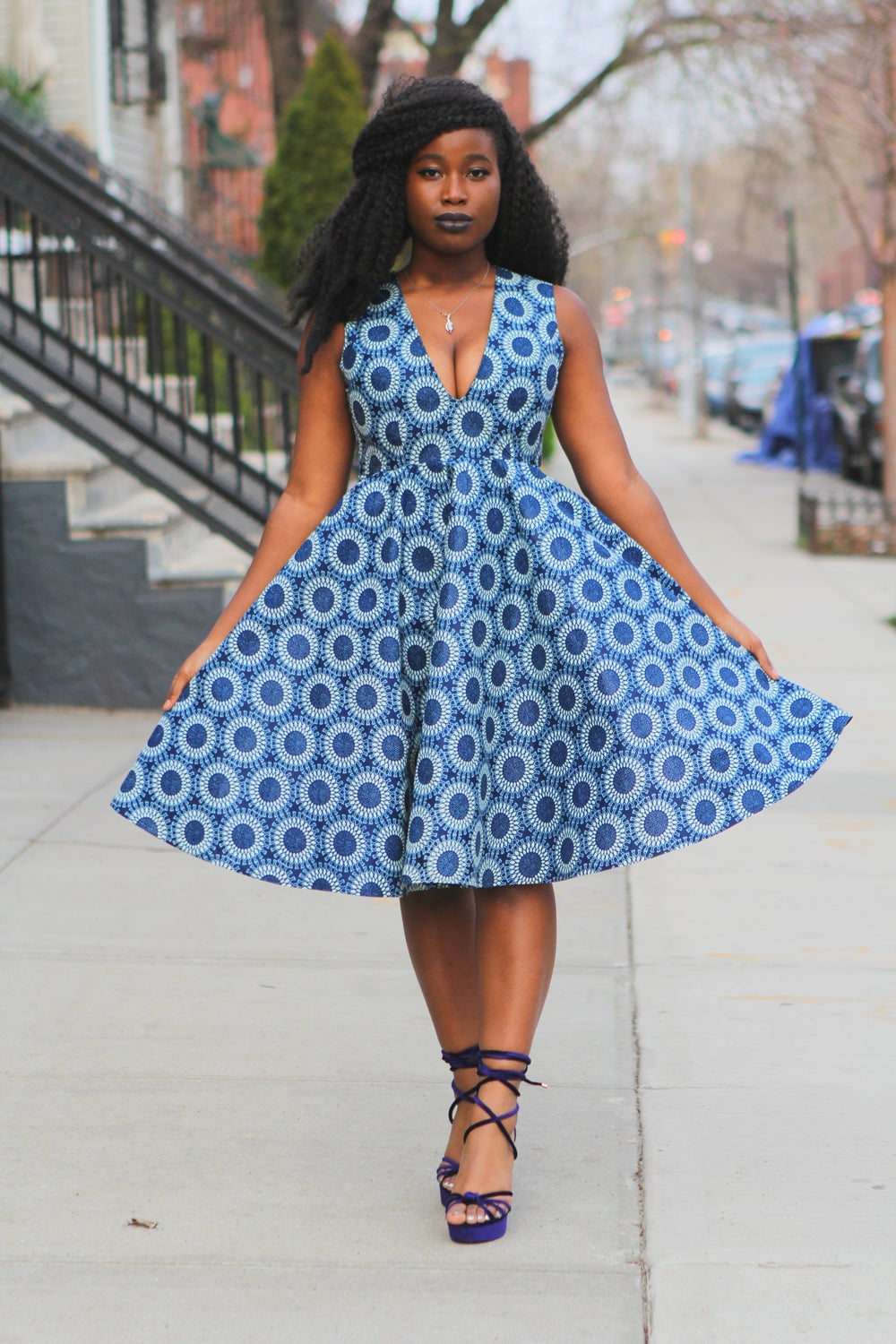 Image of MISSY - Blue White Circle Vintage Inspired African Print Wax Print Dress Dress SM- XL