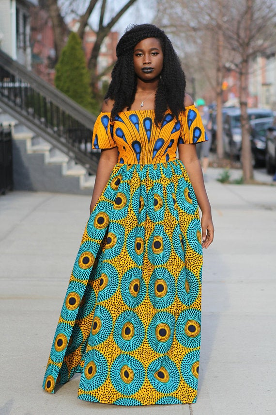 Image of TERRY - Yellow and Blue Off the Shoulder Maxi Dress
