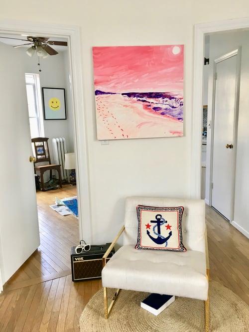 "Image of Pink Montauk sunset, 30"" x 30"" painting"