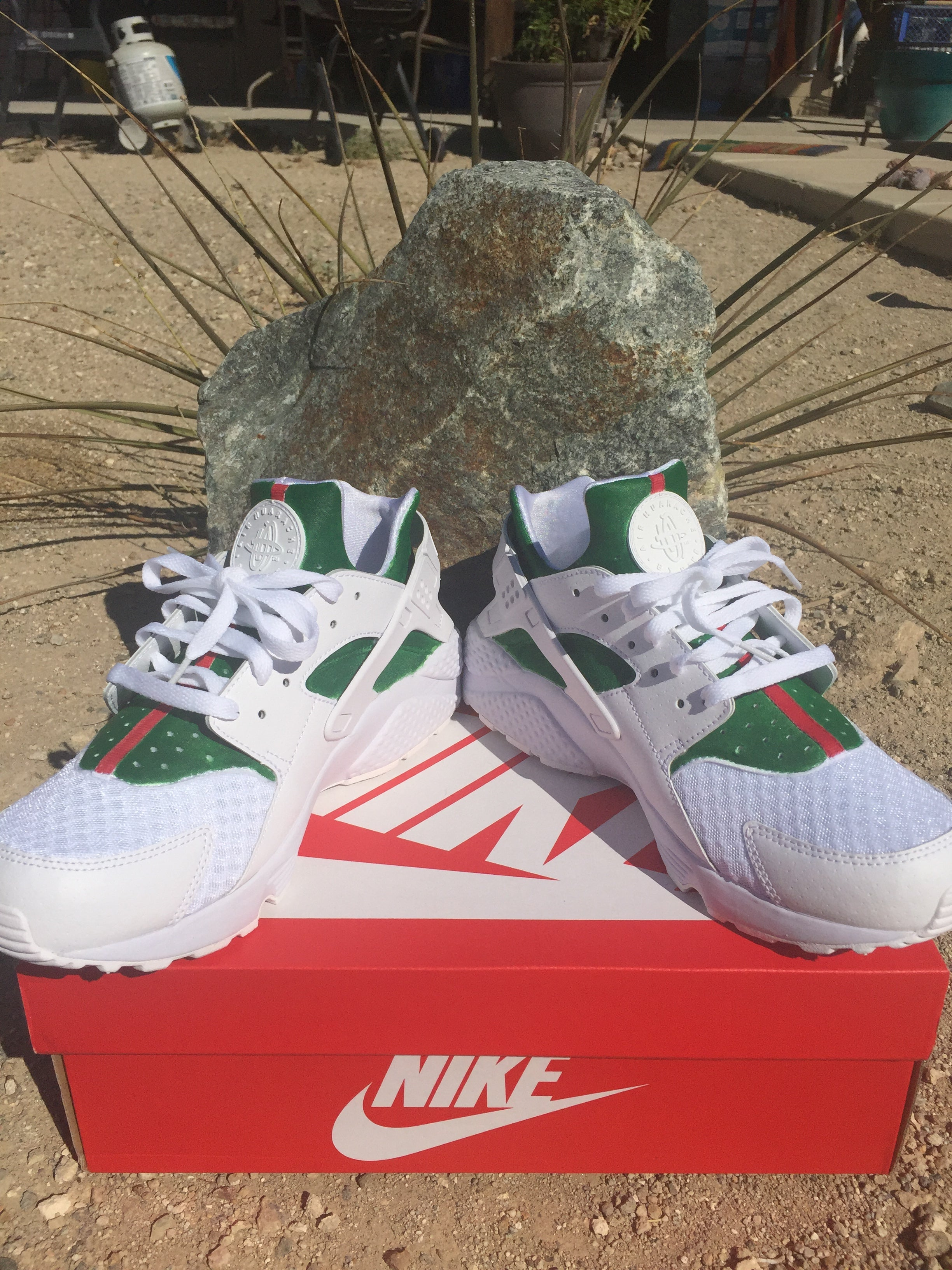 Image of White Gucci Nike Huaraches