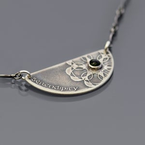 Image of Sterling Silver Serendipity and Dark Green Tourmaline Necklace