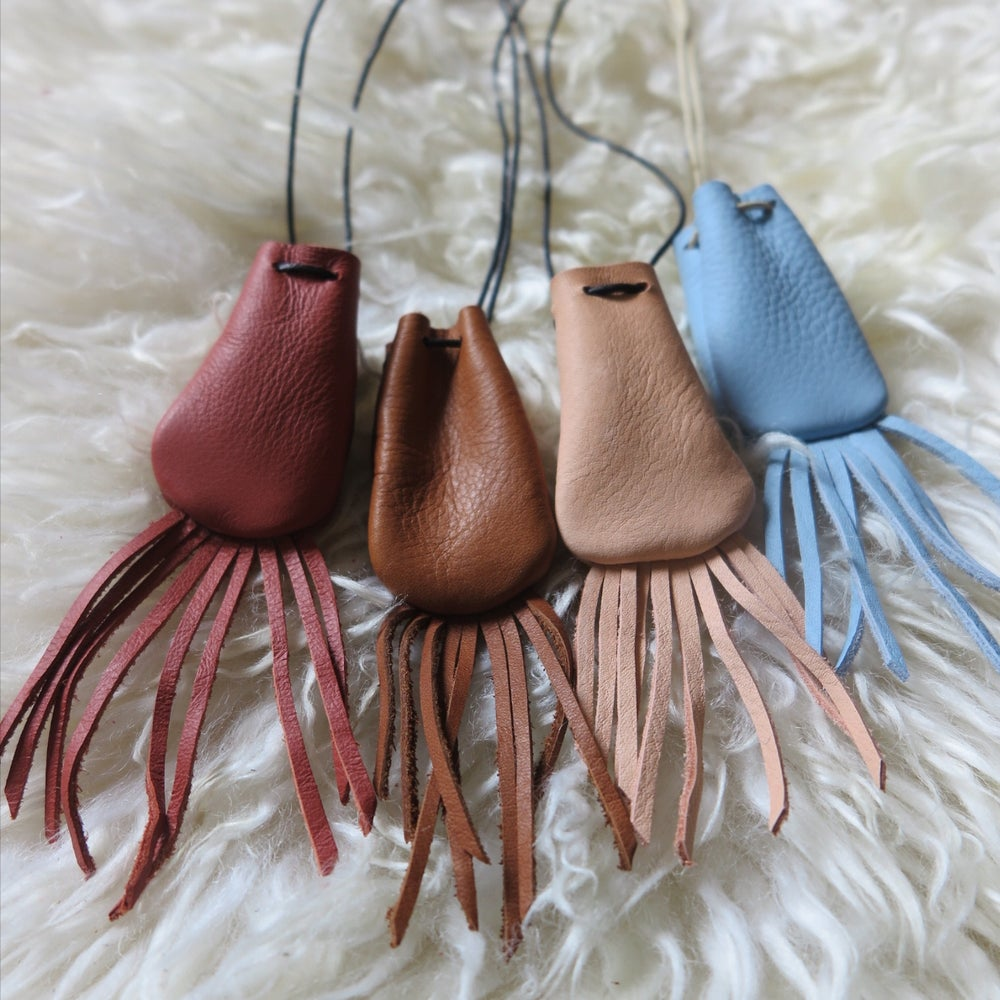 Image of crystal pouch necklace with fringe
