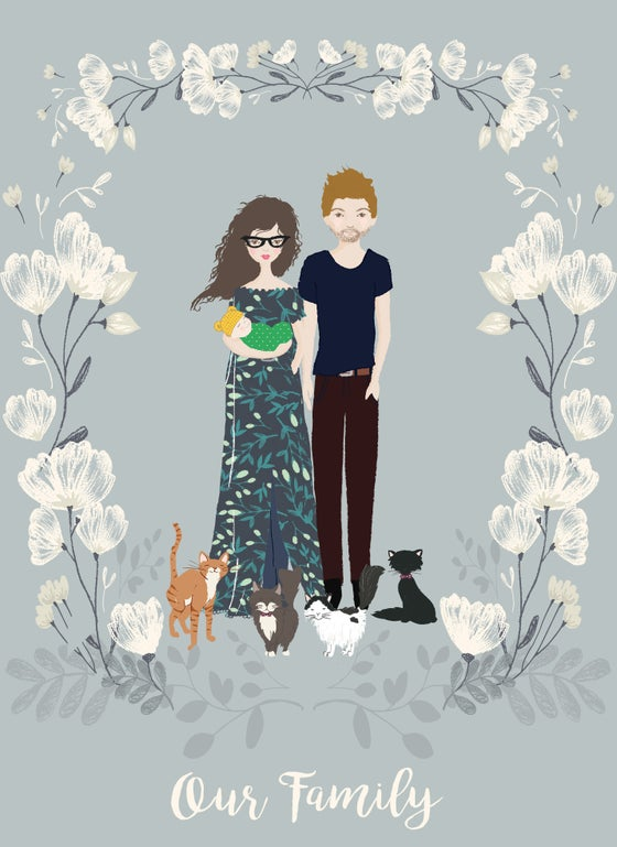 Image of Custom Made Family Portrait Illustrations