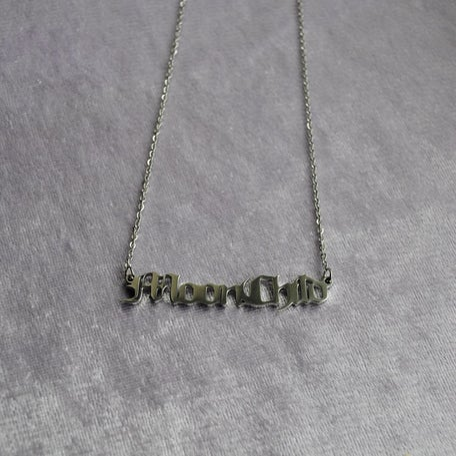 Image of Moonchild old English script necklace