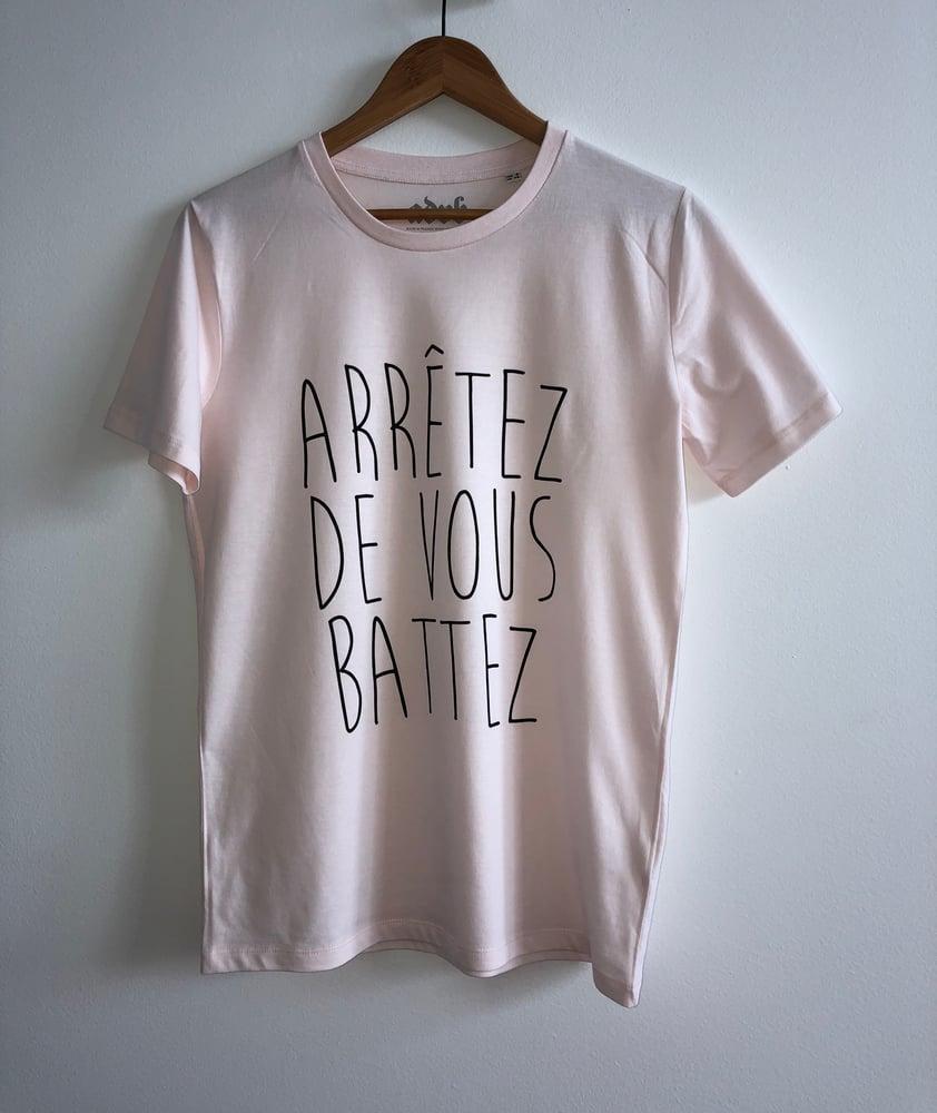 Image of ARRÊTEZ DE VOUS BATTEZ - COL ROND -  Candy-Pink with Black Print