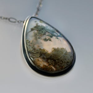 Image of Large Sterling Silver Moss Agate