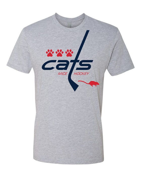 Image of Cats Mice Hockey men's tee and ladies' v-neck