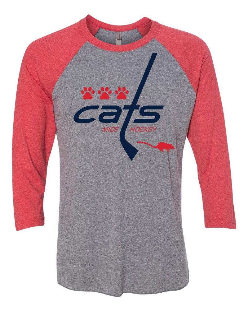Image of Cats Mice Hockey unisex 3/4 sleeve raglan