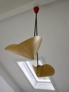 Image of Architectural Pendant Light with Scooped Shades, 1950s