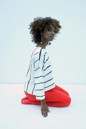 Image of PAINTED STRIPE Top - White